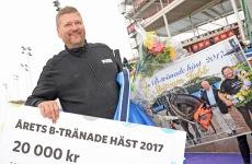Årets B-Tränade Häst 2017 - Prisutdelning. Foto: Malin Albinsson / MVA Foto