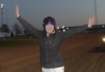 Susanne Richter superglad efter en V75 seger med M.T.Joinville