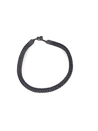 PLEATED LEATHER NECKLACE - DARK BROWN 45 CM