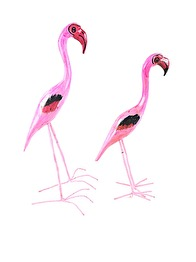 WOODEN FLAMINGO BIRDS - FLAMINGO LARGE 40 CM