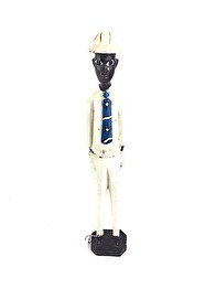 WOODEN COLONIAL STATUES - WHITE SUIT