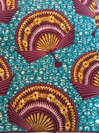AFRICAN PRINTED TEXTILES - HAND FAN TORQUISE