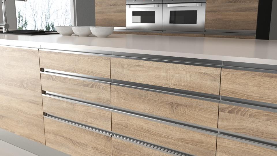 Luckor till IKEA med infällda grepp i aluminium. Design UAL-5. Finish: California Oak