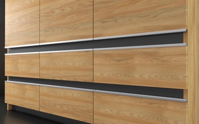 Design UAL-6 i Scandinavian Forest finish.  Bilden visar ett kök vi byggt i en lägenhet i London och är ett annat fabrikat än IKEA.