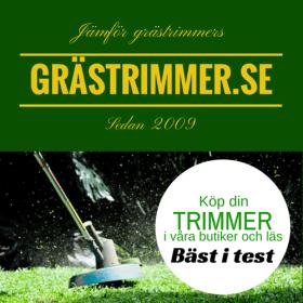 Grästrimmer in action med reklam till Grästrimmer.se