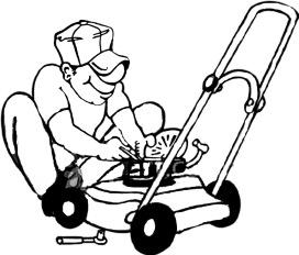 Tecknad gubbe som skruvar på sin gräsklippare. Här finns information om vad egensevice på din gräsklippare