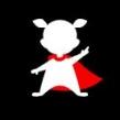 Tygkasse superelevassistent - Naturvit kasse med figur med röd cape