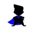 Tygkasse superelevassistent - Naturvit kasse med figur med blå cape