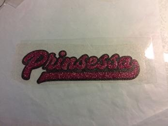Prinsessa - Rosa glitter svart bakgrund