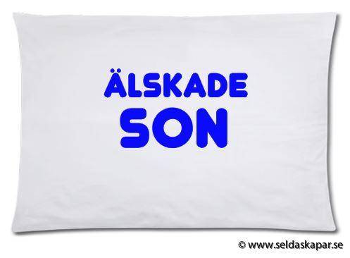 örngott älskade son blå