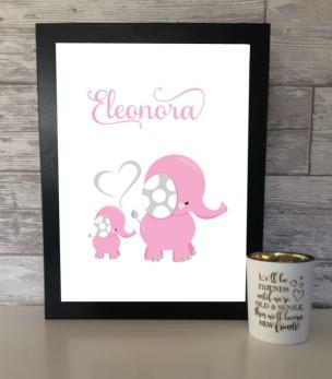 Poster elefant rosa