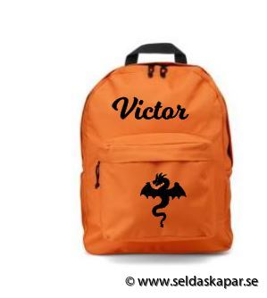 ryggsäck med namn orange