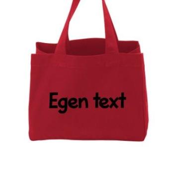 Lunchväska ekologisk röd - Svart text typsnitt 1
