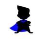 Tygkasse superfritidspedagog - Naturvit kasse med figur med blå cape
