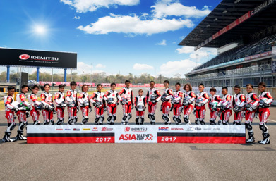 All the Asia Talent Cup riders lined up.  Click for larger image....