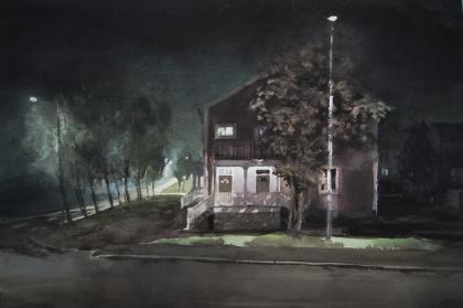 Grannar, Adolf Hedinsvägen. 31x54 cm, 12900 kr