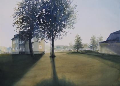 Motljus. 56x76 cm. 14500 kr. Inramad med vit list och reflexfritt glas.