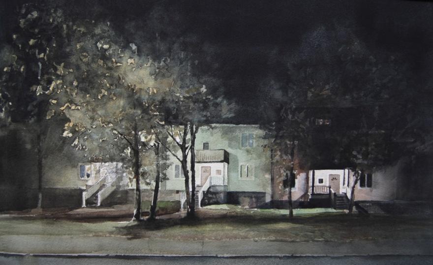 """Grannar I"" Adolf Hedinsvägen 35x54 cm, 2016"