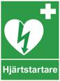 Skylt hjärtstartare dubbelsidig A4 inklusive väggfäste