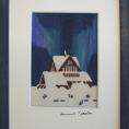 """Tavla med motiv """"Kiruna kyrka""""  i handtryckt ylle.  Storlek 15x20 cm."""