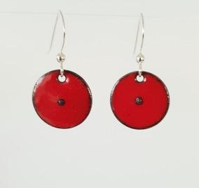 Punkt emaljörhängen - Punkt röd