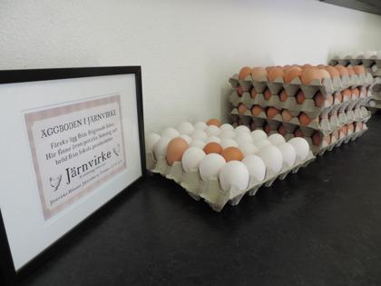 I vår gårdsbutik Äggboden i Järnvirke mellan Falkenberg & Varberg mitt i Halland kan du köpa fack med vita eller bruna ägg från frigående höns.