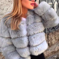 ROBYN FAUX FUR JACKET GREY
