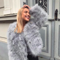 FEATHER JACKET FAUX FUR GREY