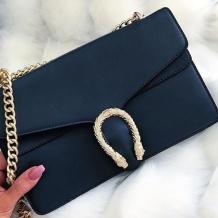 GOLDEN SNAKE BAG - NAVY BLUE