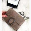 LEATHER SNAKE BAG - BEIGE (small)