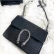LEATHER SNAKE BAG - BLACK (small)