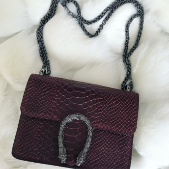 LEATHER SNAKE BAG - RED (small)