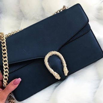 GOLDEN SNAKE BAG - NAVY BLUE