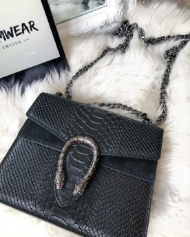 LEATHER/SUEDE SNAKE BAG MEDIUM - BLACK (medium)
