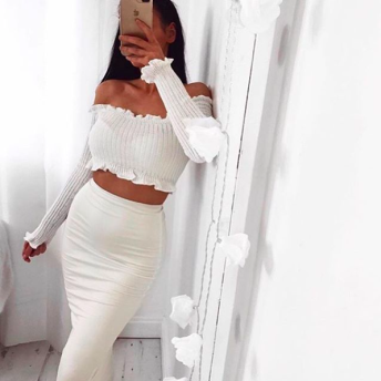 KNITTED OFF SHOULDER TOP - S - WHITE