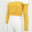 KNITTED OFF SHOULDER TOP - L - YELLOW