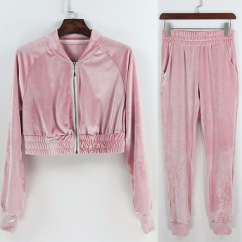 ANGELA VELVET TRACK SET - S - pink