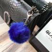 FAUX FUR KEYCHAIN SILVER - BLUE