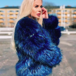 BELLE FAUX FUR JACKET BLUE