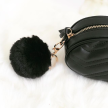 FAUX FUR KEYCHAIN GOLD - BLACK