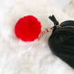 FAUX FUR KEYCHAIN GOLD - RED