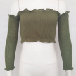 KNITTED OFF SHOULDER TOP GREEN - L