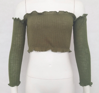 KNITTED OFF SHOULDER TOP GREEN - S