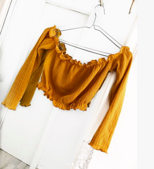 KNITTED OFF SHOULDER TOP YELLOW - M