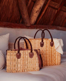 BEACH BAG STRAW W/ LEATHER (KOPIA)