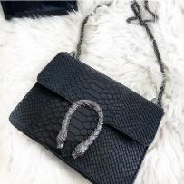 LEATHER SNAKE BAG SMALL BLACK