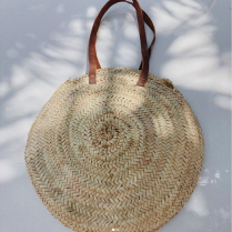 BEACH BAG ROUND W/ LEATHER