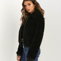 FURRY TEDDY COAT SHORT - BLACK