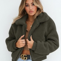 FURRY TEDDY COAT SHORT - GREEN