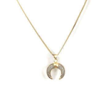 GOLD/DIAMOND HORN NECKLACE